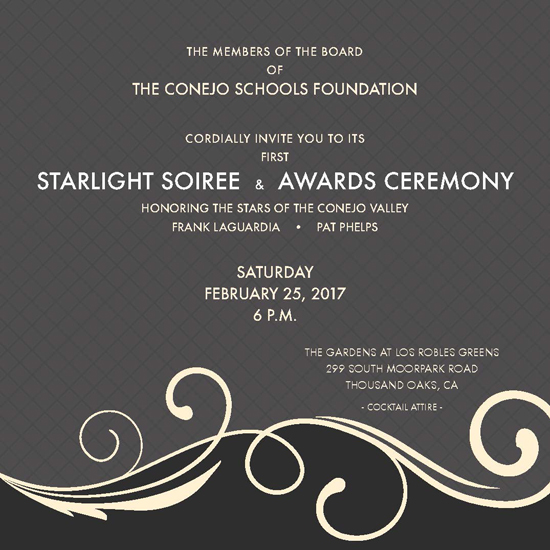 Gray invitation with soiree information