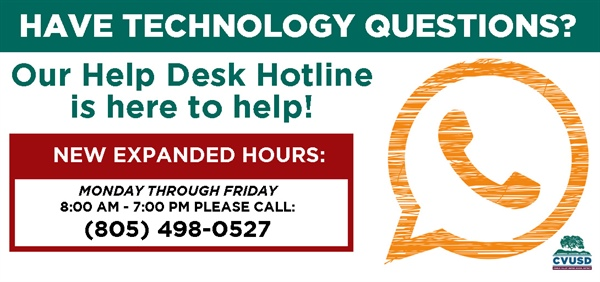 Have technology questions? Our Help Desk Hotline is here to help!