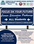 "High School Students & Families - Save the Date for the ""Focus on Your Future!"" Career Education Pathways for All Students Virtual Event"
