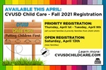 Registration for CVUSD Child Care for the 2021-2022 School Year Begins this April